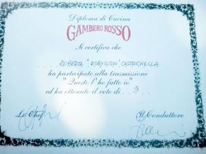 Diploma del Gambero Rosso.