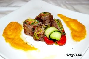 Rotolini fantasia con crema di carote e zenzero. Ricetta e foto di Roberta Castrichella