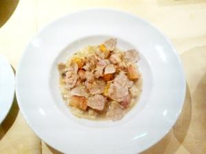 Zuppa di pan cotto con bocconcini di quaglia croccante, fois gras e tartufo.