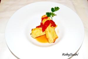 Cannelloni mignon con spada, pescatrice e melanzane. Ricetta e foto di Roberta Castrichella.