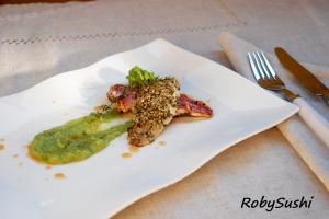 Triglie croccanti su crema di broccolo. Ricetta e foto di Roberta Castrichella.