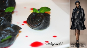 Ravioli al nero con baccalà e menta. Ricetta e foto di Roberta Castrichella.
