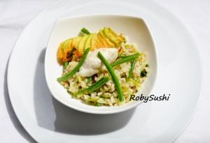 Tris di cereali con crema di friggitelli e fagiolini. Ricetta e foto di Roberta Castrichella.
